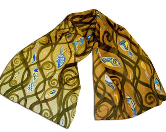 Gold prom hand-painted scarf with fishes, Klimt inspired pattern, excellent gift for Her, for business gift, for teacher, for Lady-Boss, etc