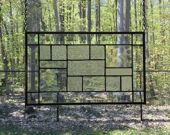 Clear Geometric Stained Glass Panel