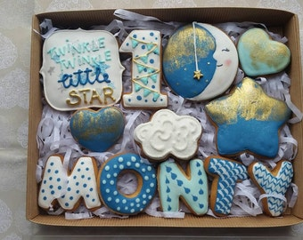 Moon and star cookie, twinkle twinkle cookie, first birthday cookies, new baby cookie gift, new born cookies, birthday cookies, christening