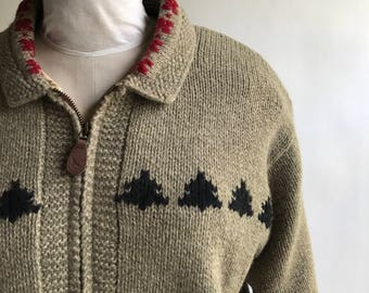 Vintage Women's Skiing Zipper Sweater by Eddie Bauer Legend's Wool Zip Up Sweater Coat / Wool Ski Sweater Size Large