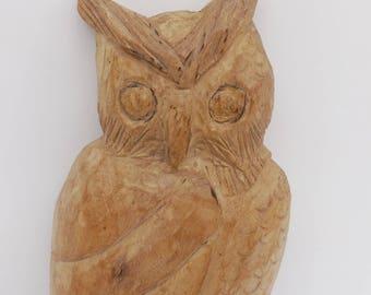 Vintage Hand carved wood Owl folk art Country decor Primitive Art Rustic