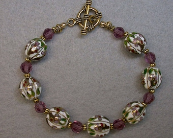 Vintage Chinese Cloisonne White Purple Rare Faceted Bead Bracelet, Vintage Amethyst Purple Crystal Beads, Gold Toggle Clasp
