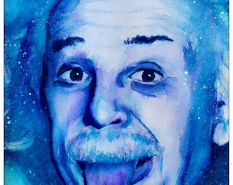 ALBERT EINSTEIN Custom Watercolour Portrait