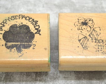 2 wooden English party message theme stamps