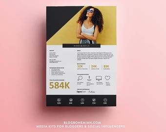 Blogger Media Kit – 1 Page – Havana Collection – Blogger + Social Media Influencer Media Kit – Resume – Press Kit Template – Pitch Deck