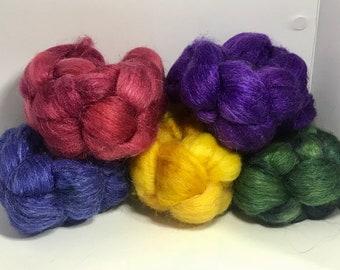 Spinning Fiber Merino SW/Bombyx/Mohair 70/15/15 - 5oz - Hippie Rainbow