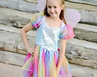 Fabulous Rainbow Fairy Costume dress. tinkerbelle pixie, princess dress-up pretend play, blue, sequins butterfly My little pony rainbow dash