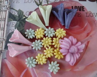 set of 19 beads various shapes and colors of acrylic flowers
