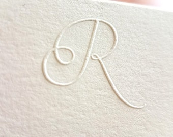 Embossed Stationery | Personalized Initial Notecards