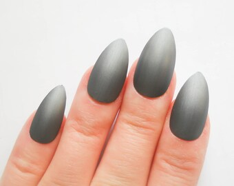 Gunmetal Matte Stiletto Nails, Fake Nails, Acrylic Nails, False Nails, Press on, Nails, Almond Nails, Grey