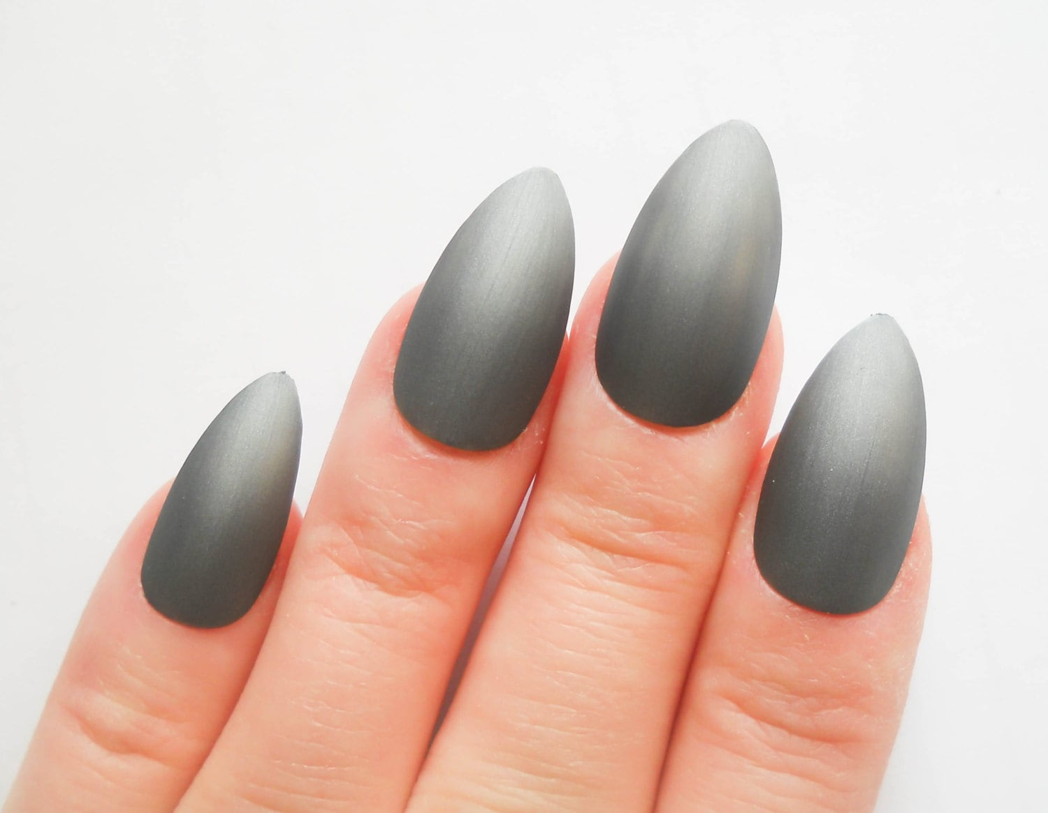 Matte Gunmetal Gray Nails / Fake Nails / Stiletto Nails /