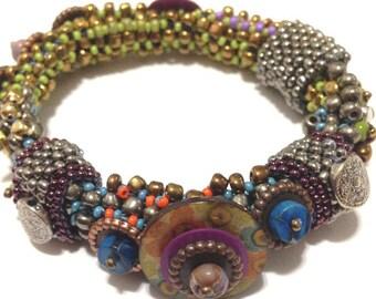 Bracelet Bangle Beadwoven Flexible Multicolored/Stackable Bangle