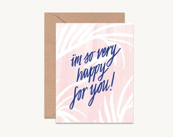 Modern congratulations card | Tropical wedding card | Boho wedding card | Tropical engagement card | Blush and navy wedding card  GCMC05