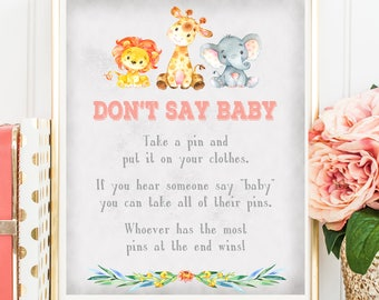 Jungle Safari Don't Say Baby Game, Animals Zoo Printable Baby Shower Don't Say Baby Sign, Printable Digital File, INSTANT DOWNLOAD
