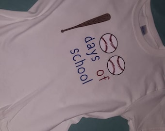 100 Days of School Baseball Themed Shirt