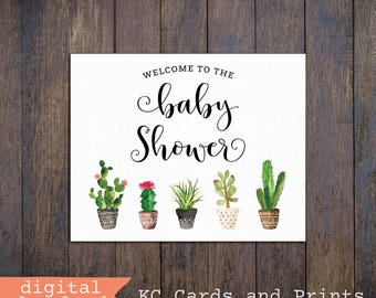 Baby Shower Welcome Sign, Cactus Baby Shower Decor, 8x10, Printable, Instant Download