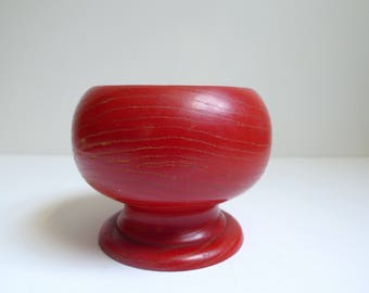 Red Wood Bowl with Pedestal Foot, Footed Bowl, Wood Footed Bowl, Red Wood Bowl, Red Bowl, Vintage Wood Bowl