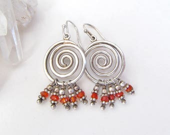 Sterling Silver Spiral Earrings, Orange Earrings Dangle, Vintage Silver Jewelry, Sterling Spiral, Small Silver Earrings, Spiral Jewelry