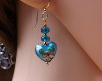 Blue cloisonné earrings with gold plated spacers and goldfill wires. Blue heart earrings