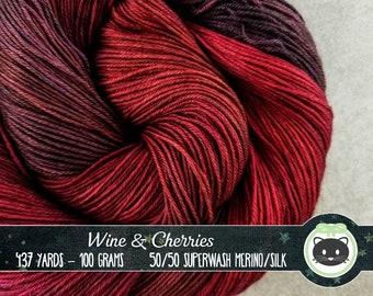 Dark red and purple Hand Dyed Yarn, Sock Yarn, Merino Wool Yarn, Fingering Yarn, Variegated Yarn, SWM, Heirloom Luxe, Wine & Cherries