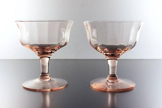 Pink Sherbet Glasses, Optic Paneled, Depression Glass, Champagne Glasses, Cocktail Glasses, Set of 2, Barware
