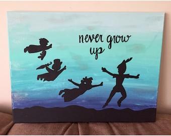 Never Grow Up Peter Pan canvas