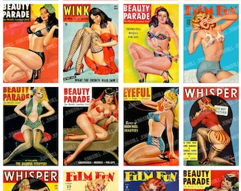 PEEPSHOW - Digital Printable Collage Sheet - Risque Pin-Up Girls, Vintage Girlie Magazine Covers, Retro Varga Girls, Instant Download