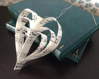 3 Music Sheet heart Decorations