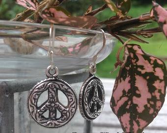 HANDMADE Peace Sign Earrings, Healing Jewelry, Peace Sign, Sterling Silver Peace Sign Earrings, Give Peace a Chance, World Peace