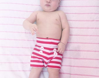 Red and White Stripe Baby Swim Trunks, Boys Swimwear, Baby Swimwear, Baby Swimsuit, Boy Swim Trunks, Baby Swim Shorts, Boys Swimmers