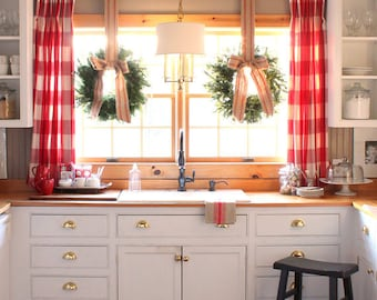 Red And White Buffalo Plaid Curtains, 25% Off Sale, While Stock Lasts,