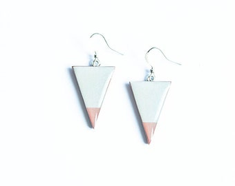 Gray triangle earrings, geometric jewelry, minimalism earrings