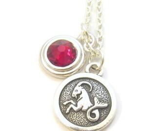 Capricorn Zodiac and Birthstone Necklace, January Birthstones Necklace, Garnet Swarovski, Astrology Jewelry, Bridesmaid Gift