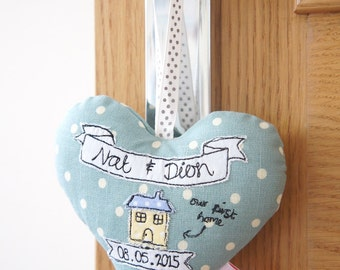 New Home Heart Decoration - Moving House Gift - Stuffed Personalised Family Heart
