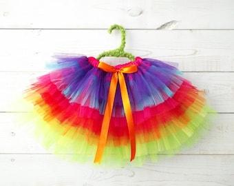 Rainbow Tutu, Unicorn Tutu, Flower Girl, Fairy Skirt, Rainbow Skirt, Fairy Costume, Rainbow Costume, Ballet Skirt, Dancewear, Girl's Dress