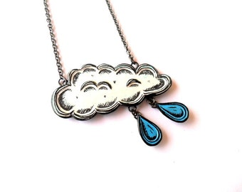Rain Cloud Necklace. Raindrop Necklace. White Cloud Pendant. Cloud Jewelry. Gift for Teen.