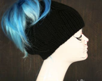 Knitted Messy bun Ponytail hat beanie Black - Cable knit tail winter hat beanie womens accessory acrylic warm