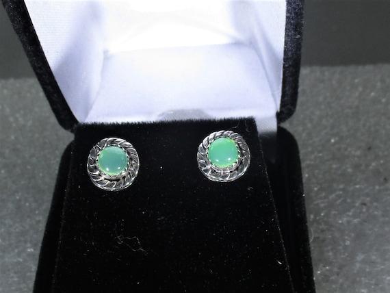 genuine chrysoprase gemstone handmade sterling silver stud post earrings - chrysoprase jewelry - green gemstone