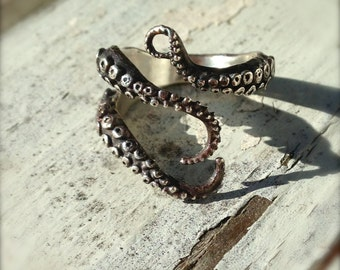 SALE- Knuckle Ring, Pinky Ring, Midi Ring, Wicked, Tentacle Ring, Octopus Jewelry