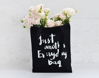 Everyday Canvas Tote / Heavy Canvas Bag  / Typography Tote Bag / Screen Print Tote / Black and White Canvas Bag / Everyday Canvas Bag