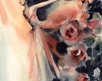 Ballerina and Flowers Original Watercolor Painting, Ballet Painting, Ballerina Modern Watercolor Painting Art