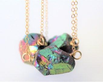 Raw Crystal Necklace, Crystal Jewelry,Raw Stone, Boho Jewelry, Rainbow Quartz, Crystal Quartz Necklace, 14K Gold
