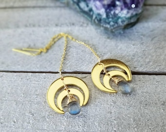 Gold threaders - moon threaders - gold moon earrings - gold ear threaders - labradorite - gold ear threads - horn moon earrings - gold moon
