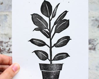 SALE, Linocut, Hand Printed, Block Print, Printmaking, Green Art, Hand Made, Leaf Print, Tropical Leaf Print, Ficus, Tropical Print, Leaves
