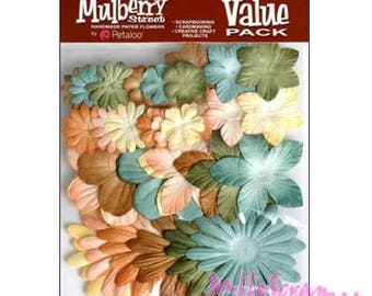 Set of 36 colors green, brown paper flowers embellishment scrapbooking Petaloo *.