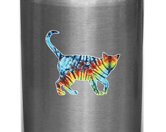 "CLR:WB - Rainbow Tie Dye Cat Walking -Design 2 of 2 - Vinyl Decal for Reusable Water Bottles © 2016 YYDCo. (Small 3.5""w x 3""h)"