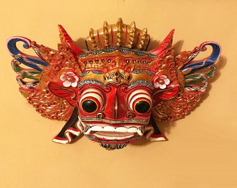 Garuda Mask: Vintage Indonesian Decorative Mask--Beautiful Hand Crafted Carved Wooden Painted and Gilded Mask--Great Wall Art