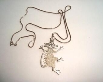 Vintage Leitz Sterling Silver Monster Pendant Necklace...Signed
