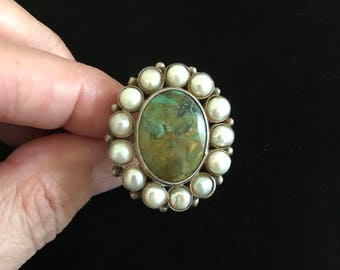 SALE!  Lovely Green Turquoise, Pearl & Sterling Silver Ring