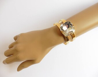 1980s goldtone giant diamanté ring-style cuff bangle